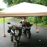 The tent for the motorcycles.