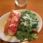 Lobster roll and salad--just right in size