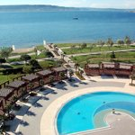 View of Dardanelles Strait and the Pool at Kolin Hotel