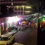 This was our view of Bourbon Street from our shared balcony.