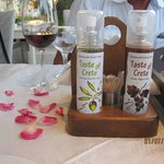 The Mistral's Family's own Olive Oil & Table setting