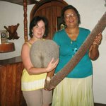 My hostess Floriane and I holding Coco de mer.
