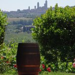 Across the swimming pool to San Gimignano...
