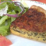 Spinach quiche with side salad