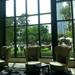 From inside the hotel lobby