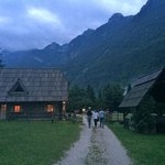 Strolling back to our chalet after dinner