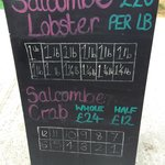 The board shows the Lobster and Crab catch of the day!