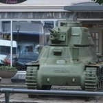 This tank stands outside the museum