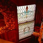 leaded glass on stair landing
