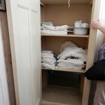 "The linen closet where the entrance to the ""hiding place"" was hidden"