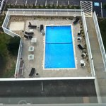 View of the outdoor pool from the Club Lounge