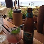 blueberry mojito and beer at Ferrarros