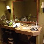 Bathroom vanity in upgraded building.