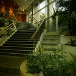 Steps to the upstairs lounge, restaurant and meeting rooms