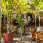 Stone Town Cafe with large outside seating area and lots of natural shade