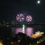 Fireworks over the St. Lawrence river. See them most Saturday nights in July & August from le Te