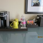 keurig and supplies in room