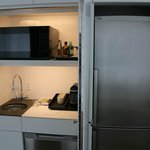 The kitchenette and fridge