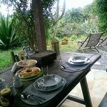 Michelle prepared this amazing breakfast in Casa Da Luz's front garden.