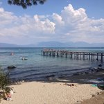 """A view of Lake Tahoe from the picnic area near """"the mansion."""""""