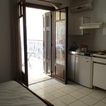 The kitchenette in our room and french doors out to the terrace.
