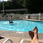 Relaxing at the pool.