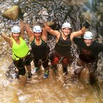 After repelling down the waterfall