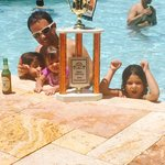 Celebrating daddy's trophy at the pool!