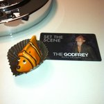 Godfrey's electronic key card (and a candy fish from Macy's)