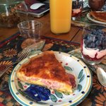 Amazing breakfast quiche and fresh fruit