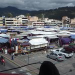 The view of Plaza de Ponchos from our balcony