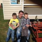 Jack, Paddy & Canny (Grandad) outside our caravan