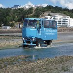 ...by amphibious vehicle