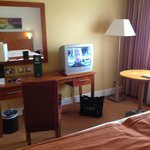 typical hotel room layout - old tv