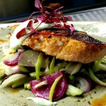 Chimayo Chile Seared Salmon with Avocado Cilantro Crema and Chayote Radish Slaw