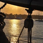 Sunset Cuttyhunk from deck of the Mystic Whaler