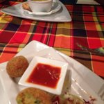 Soup and Breadfruit balls ! Tasted amazing !