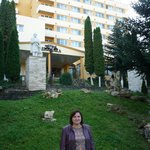 my wife in front of the hotel.......