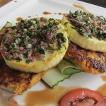 Grilled paneer with carrot roesti
