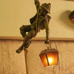 Cute miner's lamp in the lobby