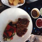 Rib-eye, grilled vegetables and chunky chips!