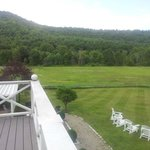 The lawn and meadow from upstairs deck