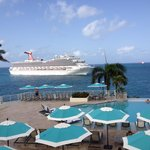 Marriott Frenchman's Reef Main Pool View passing cruise ship