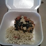 Here is what was left from the gorgonzola salmon and couscous.