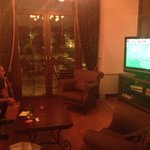 Watching footy in the living room