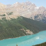 Peyto lake with the mountains reflection