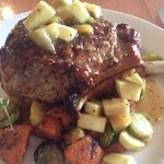Doublecut pork chop, Apple-Mustard seed Compote, sweet potatoes, brussels sprouts ($26)