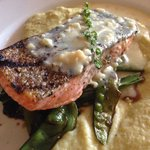 Grilled Rogue River king salmon fillet ($31)