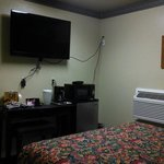 Comfortable queen bed with flat screen and quiet a/c