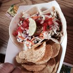 Fish taco...blackened. If you like spicy, you'll love it!